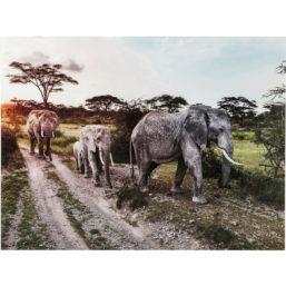 Picture Glass Elefant Family 160x120cm