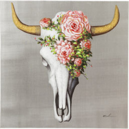 Picture Touched Flower Skull 80x80cm