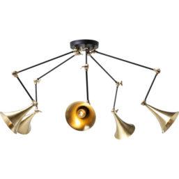 Pendant Lamp Trumpet Brass Spider 5-li