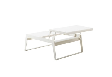 Chill-out sofabord m/ to bordplate høyder, White, aluminium
