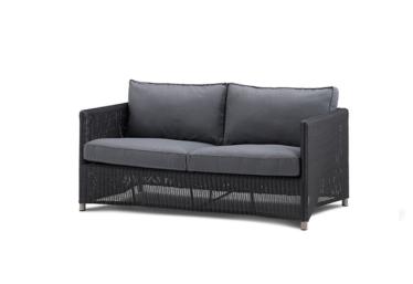 Diamond 2 pers. sofa inkl. gråt Subrella pute, Graphite, Cane-line fiber