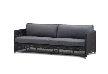 Diamond 3 pers. sofa inkl. grå Subrella putesett, Graphite, Cane-line fiber