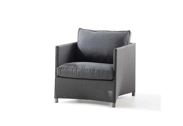 Diamond lounge stol inkl. Sunbrella Natte pute, Grey, Cane-line Tex