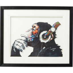 Bilde m/ramme Art Monkey Musik 60x50cm