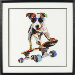 Bilde med ramme Art Skater Dog 65x65cm