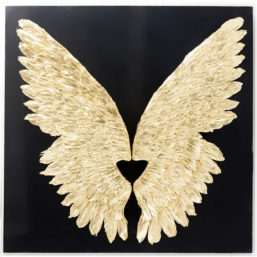 Veggdekor Wings Gold Black 120x120cm