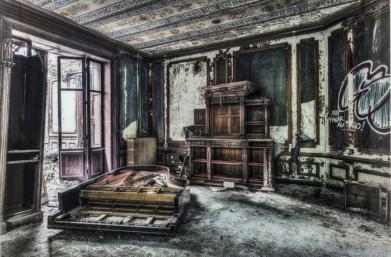 Glassbilde Vintage Piano Room 100x1
