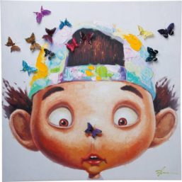 Maleri Touched Boy with Butterflys 100x100cm