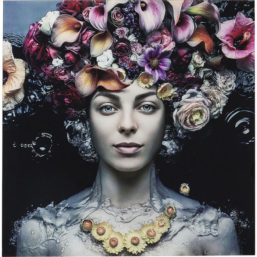 Glassbilde Flower Art Lady 120x120cm